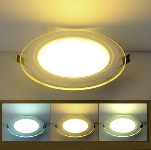 Glass Panel Downlight Round 9w Tri Colour Aspire