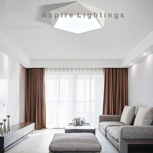 White Pentagon Ceiling LED Light Singapore- Aspire Lights