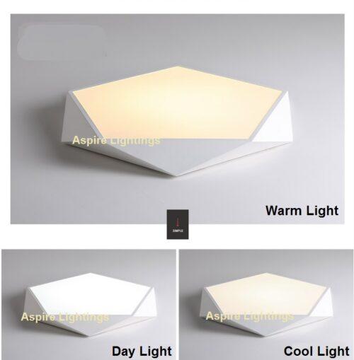 White Pentagon LED Ceiling Light Singapore- Aspire Lights